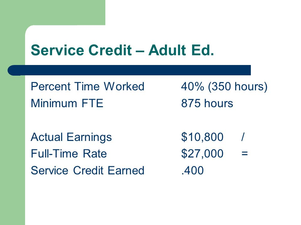 Service Credit – Adult Ed.