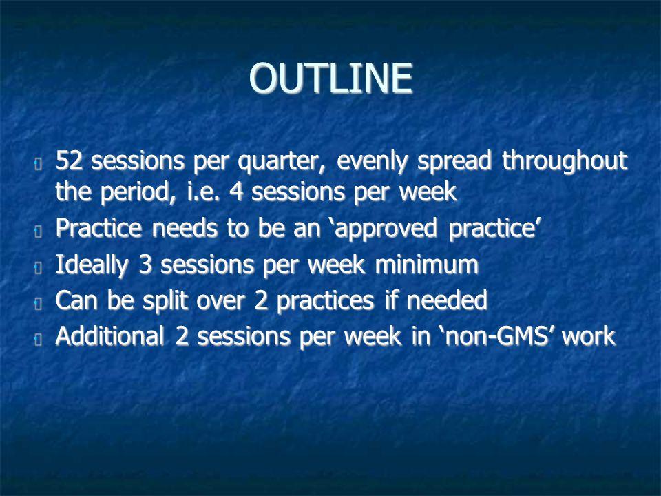 OUTLINE 52 sessions per quarter, evenly spread throughout the period, i.e.
