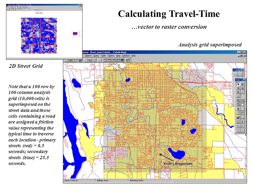 Calculating Travel-Time For more discussion on travel-time calculation and its applications, visit… www.innovativegis.com/basis …educational software for hands-on experience in creating and using travel- time maps and other grid-based map analysis …online book discussing travel-time concepts, procedures and considerations (Topics 5, 6, 13,14 and 17), as well as other grid-based analysis techniques …also see Papers/Presentations Online Papers, select Understanding Effective Distance and Connectivity