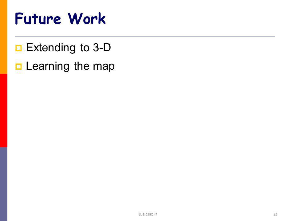 NUS CS524712 Future Work Extending to 3-D Learning the map