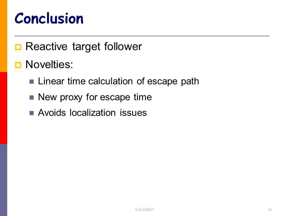 NUS CS524713 Conclusion Reactive target follower Novelties: Linear time calculation of escape path New proxy for escape time Avoids localization issues