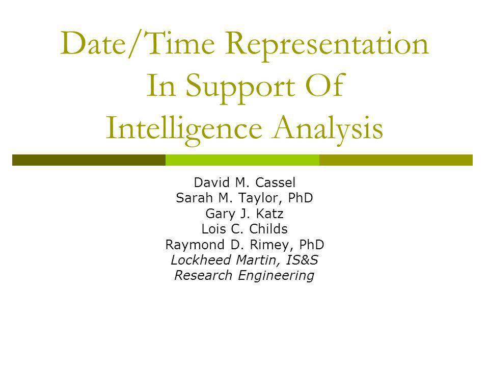 Date/Time Representation In Support Of Intelligence Analysis David M.