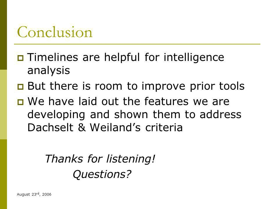 August 23 rd, 2006 Conclusion Timelines are helpful for intelligence analysis But there is room to improve prior tools We have laid out the features we are developing and shown them to address Dachselt & Weilands criteria Thanks for listening.