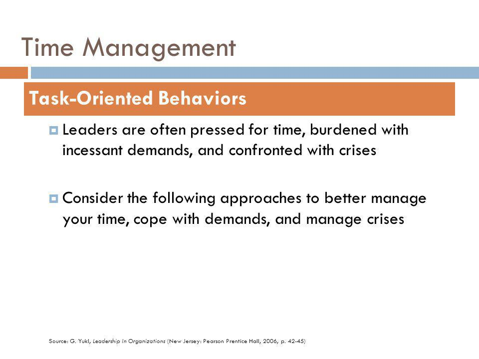 Time Management Leaders are often pressed for time, burdened with incessant demands, and confronted with crises Consider the following approaches to better manage your time, cope with demands, and manage crises Task-Oriented Behaviors Source: G.