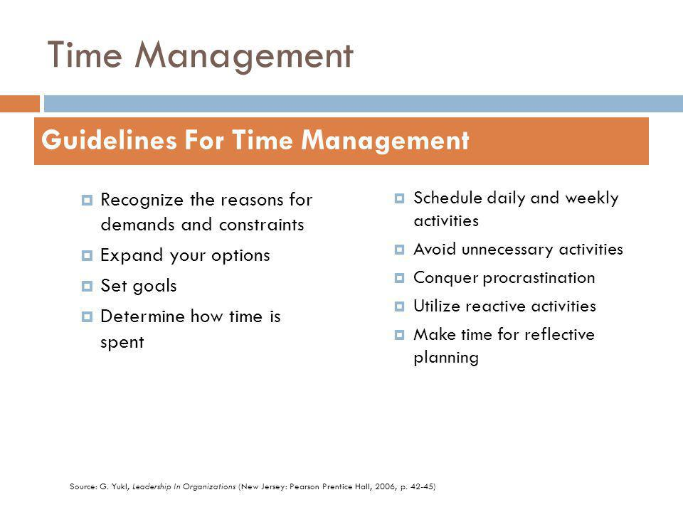 Time Management Recognize the reasons for demands and constraints Expand your options Set goals Determine how time is spent Schedule daily and weekly activities Avoid unnecessary activities Conquer procrastination Utilize reactive activities Make time for reflective planning Guidelines For Time Management Source: G.