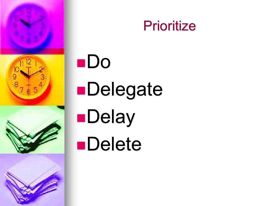 Prioritize Do Do Delegate Delegate Delay Delay Delete Delete