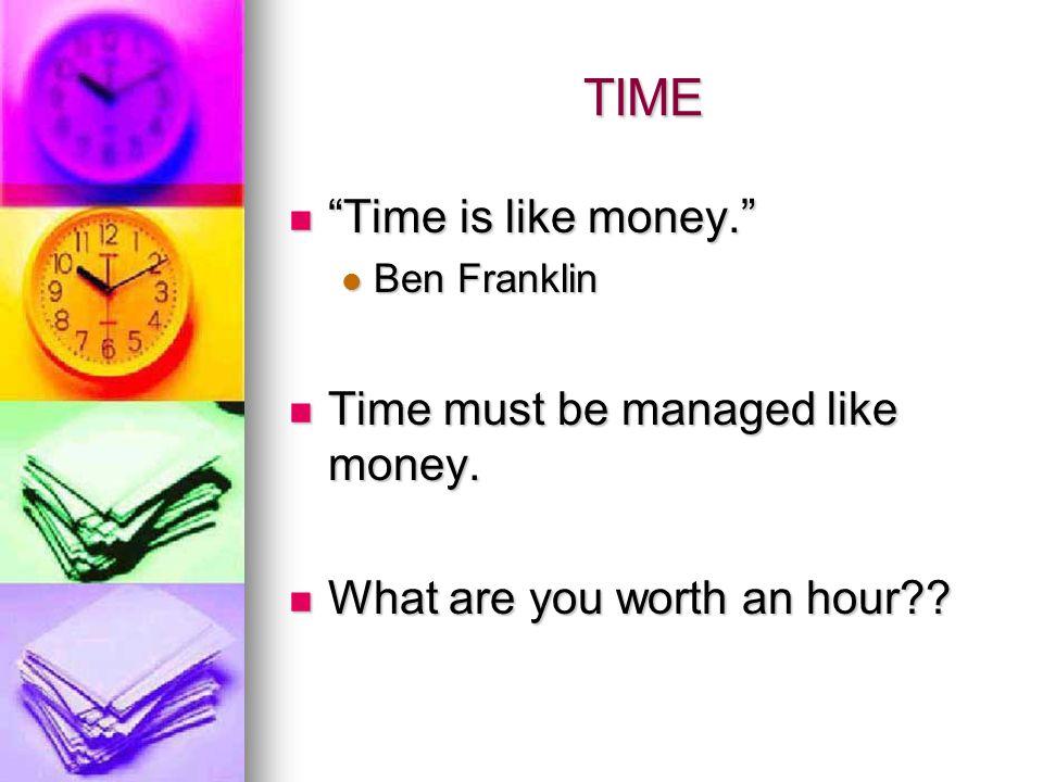 TIME Time is like money.Time is like money.