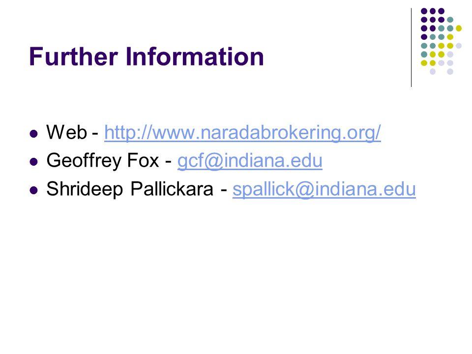 Further Information Web - http://www.naradabrokering.org/http://www.naradabrokering.org/ Geoffrey Fox - gcf@indiana.edugcf@indiana.edu Shrideep Pallickara - spallick@indiana.eduspallick@indiana.edu