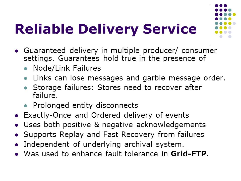 Dealing with large payload sizes To cope with large payloads, the substrate incorporate 2 sets of services.