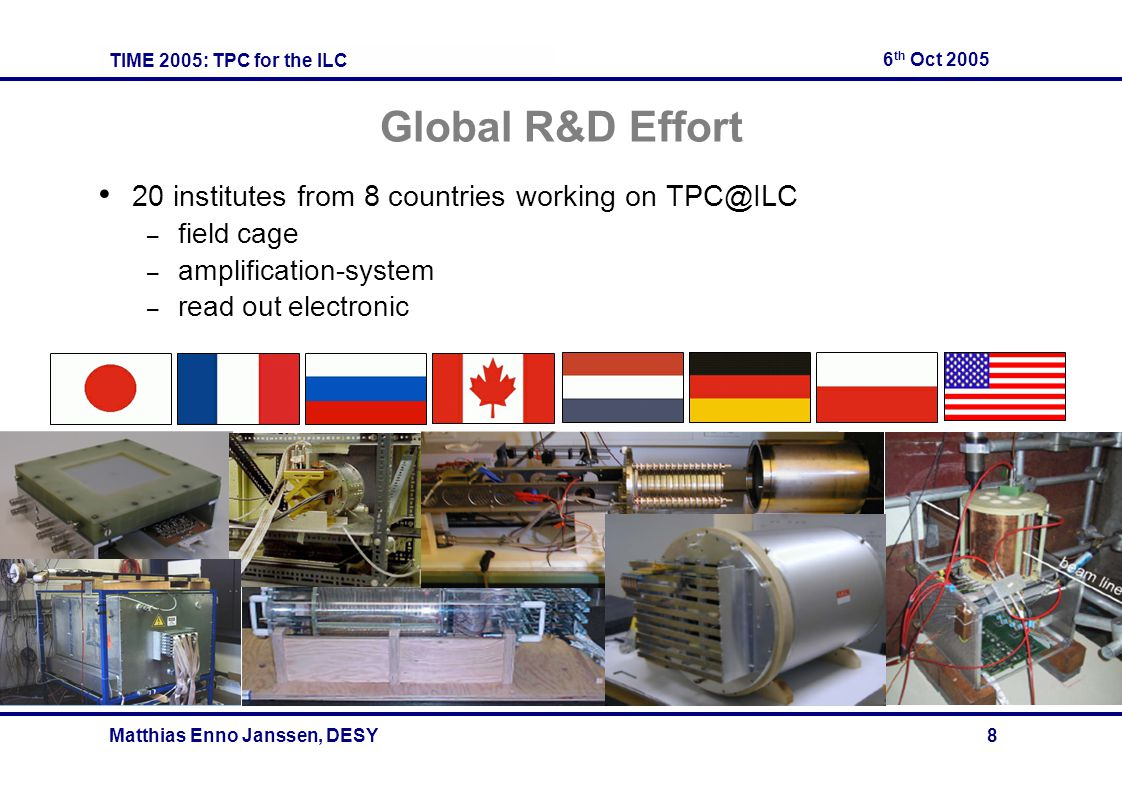 TIME 2005: TPC for the ILC 6 th Oct 2005 Matthias Enno Janssen, DESY 8 Global R&D Effort 20 institutes from 8 countries working on TPC@ILC – field cage – amplification-system – read out electronic