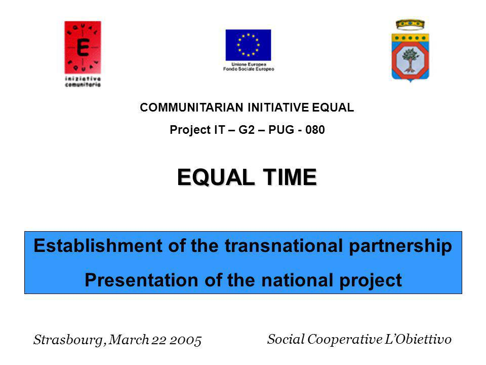 Establishment of the transnational partnership Presentation of the national project Strasbourg, March 22 2005 COMMUNITARIAN INITIATIVE EQUAL Project I