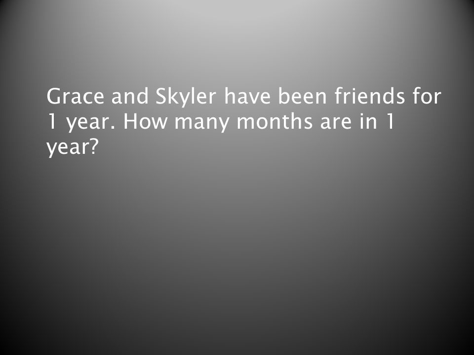 Grace and Skyler have been friends for 1 year. How many months are in 1 year?