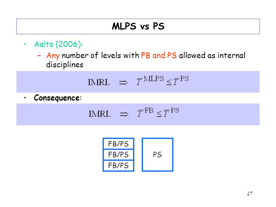 27 MLPS vs PS Aalto (2006): –Any number of levels with FB and PS allowed as internal disciplines Consequence: FB/PS PS