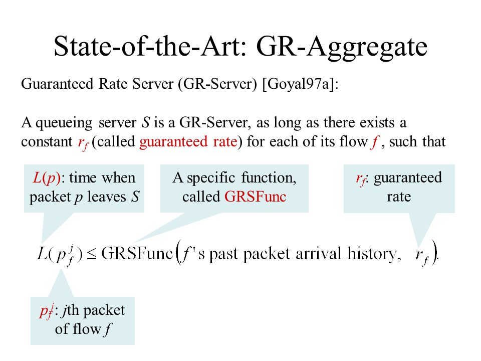 State-of-the-Art: GR-Aggregate Guaranteed Rate Server (GR-Server) [Goyal97a]: A queueing server S is a GR-Server, as long as there exists a constant r f (called guaranteed rate) for each of its flow f, such that p f j : jth packet of flow f L(p): time when packet p leaves S A specific function, called GRSFunc r f : guaranteed rate