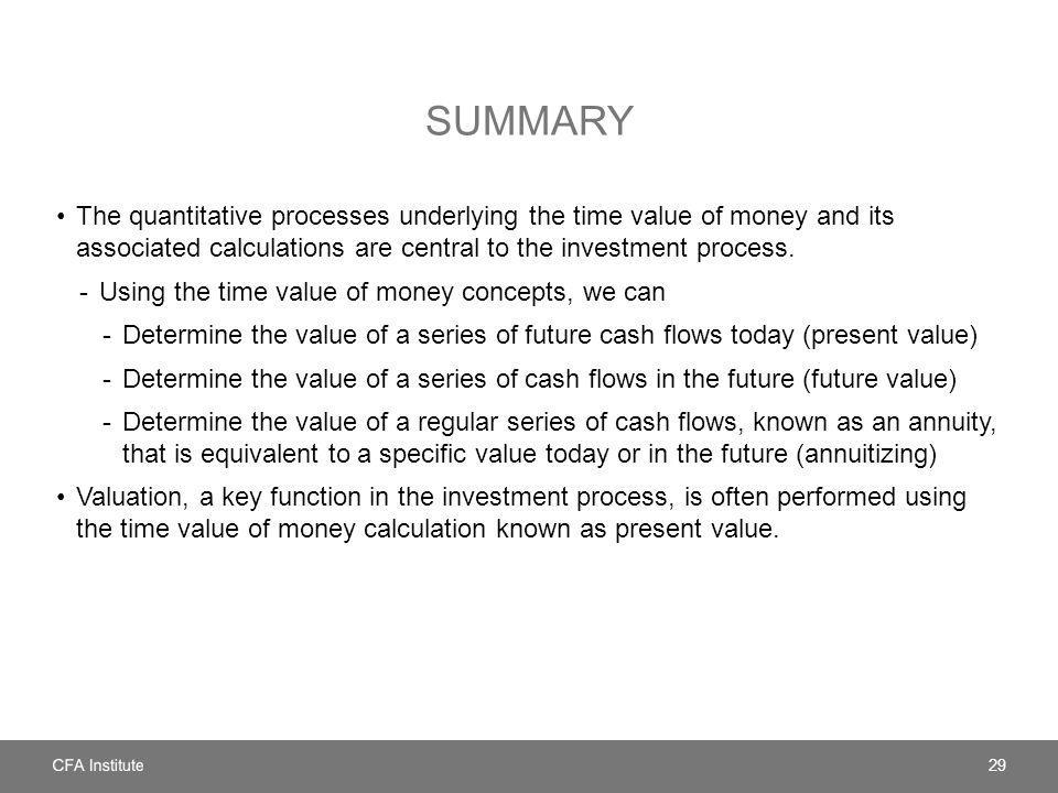 SUMMARY The quantitative processes underlying the time value of money and its associated calculations are central to the investment process. -Using th