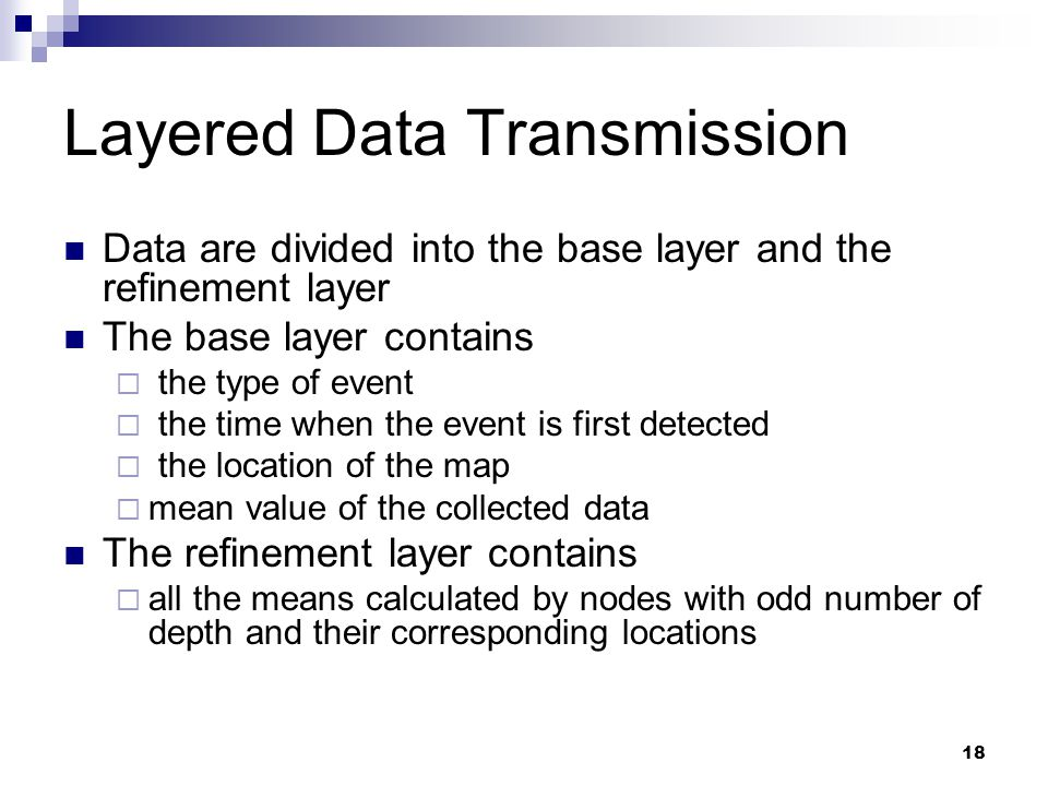 19 Base Layer and Refinement Layer Base Layer Refinement Layer …… Transmission Sequence of Refinement Layer : data from the node located at C : data from nodes with distance d max from C : data from nodes with distance d max/2 from C : … …… mean 0 mean dmax mean dmax/2 mean dmax/4 mean dmax*3/4