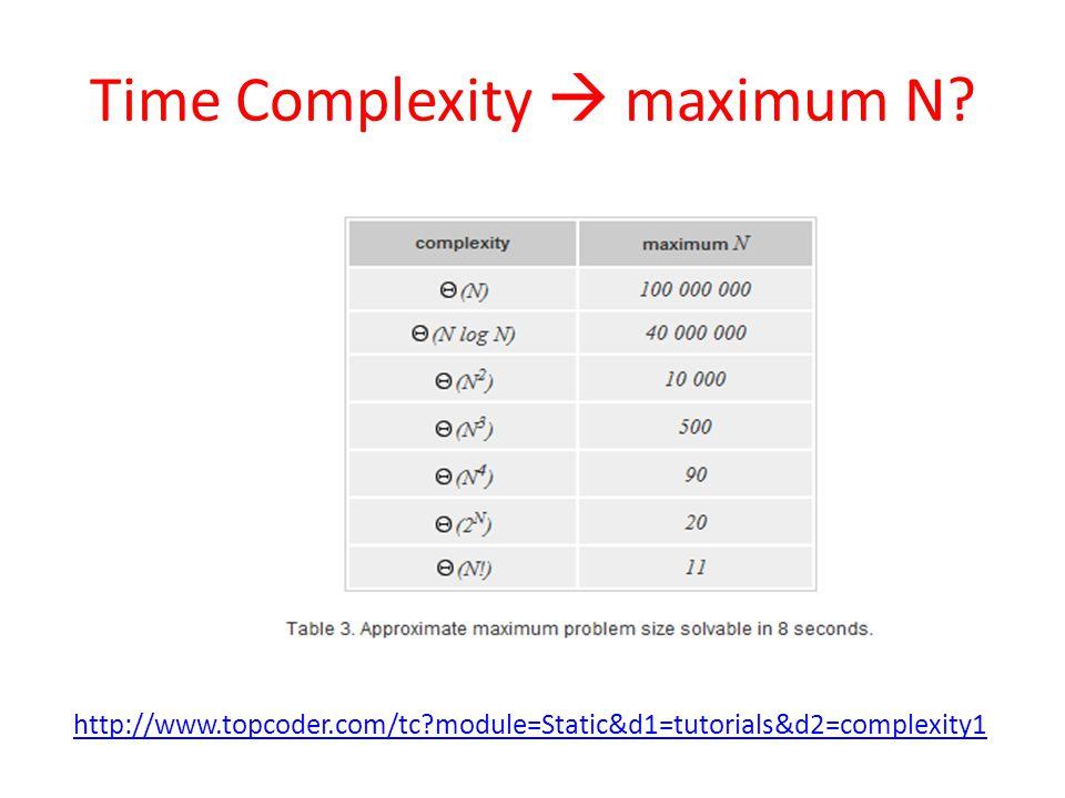 Time Complexity maximum N http://www.topcoder.com/tc module=Static&d1=tutorials&d2=complexity1