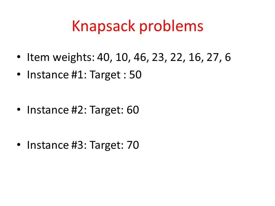 Knapsack problems Item weights: 40, 10, 46, 23, 22, 16, 27, 6 Instance #1: Target : 50 Instance #2: Target: 60 Instance #3: Target: 70