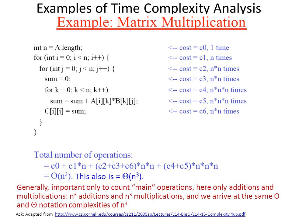 Examples of Time Complexity Analysis Ack: Adapted from http://www.cs.cornell.edu/courses/cs211/2005sp/Lectures/L14-BigO/L14-15-Complexity.4up.pdfhttp: