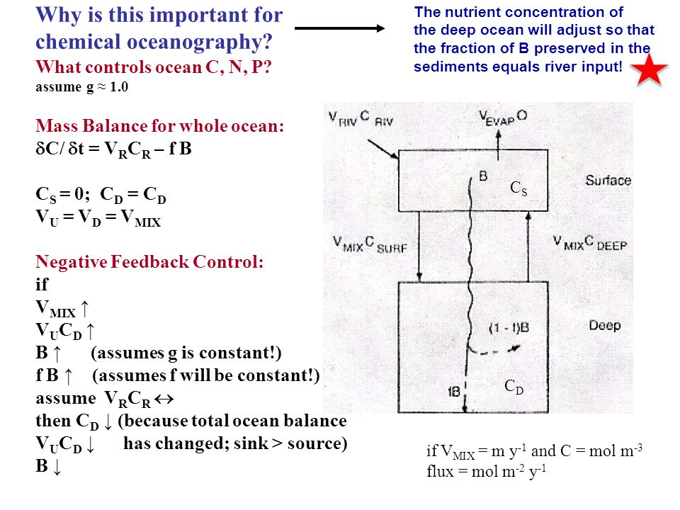 Why is this important for chemical oceanography? What controls ocean C, N, P? assume g 1.0 Mass Balance for whole ocean: C/ t = V R C R – f B C S = 0;