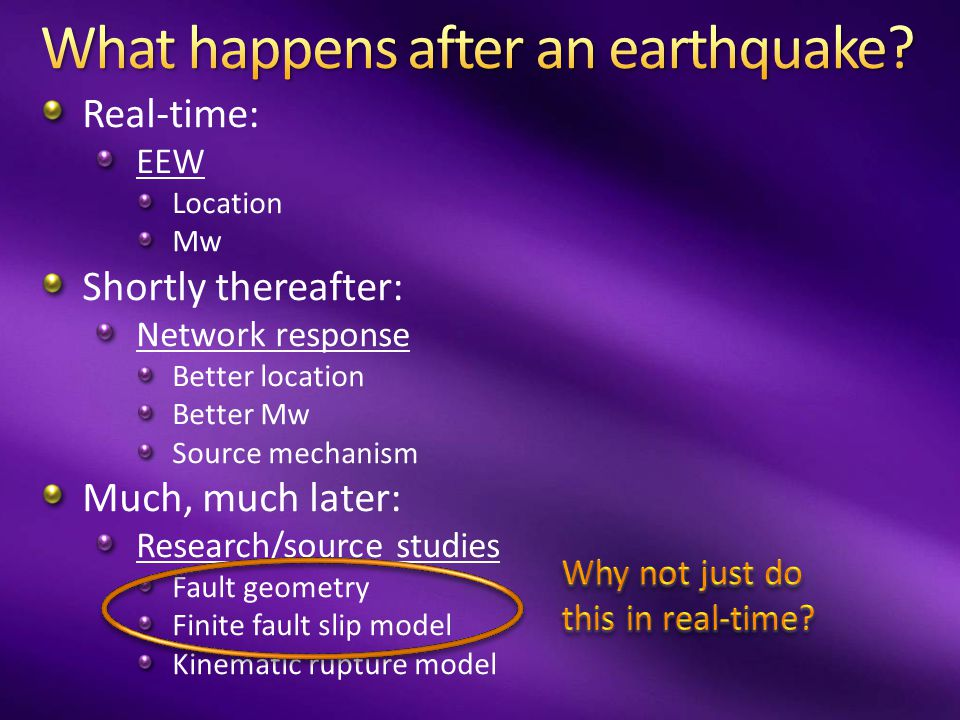 For regions with both dense seismic networks and real-time high-rate GPS, we could have non- saturating magnitudes and finite fault slip distributions (and thus accurate warnings and shaking forecasts) in real-time starting today.