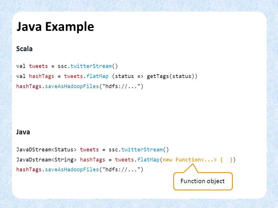 Java Example Scala val tweets = ssc.twitterStream() val hashTags = tweets.flatMap (status => getTags(status)) hashTags.saveAsHadoopFiles(