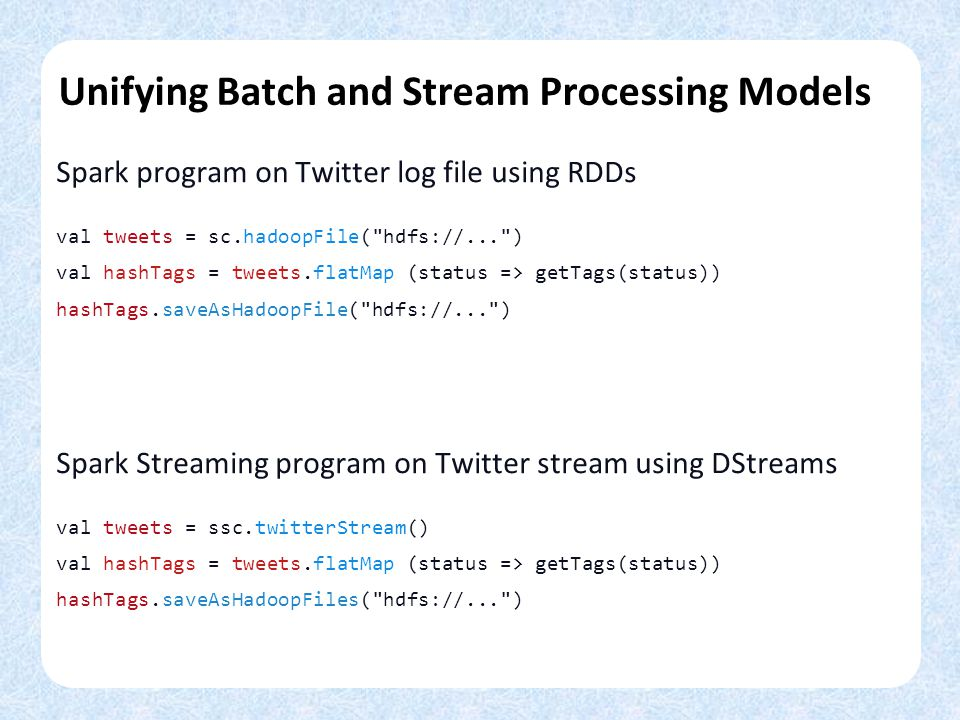 Unifying Batch and Stream Processing Models Spark program on Twitter log file using RDDs val tweets = sc.hadoopFile( hdfs://... ) val hashTags = tweets.flatMap (status => getTags(status)) hashTags.saveAsHadoopFile( hdfs://... ) Spark Streaming program on Twitter stream using DStreams val tweets = ssc.twitterStream() val hashTags = tweets.flatMap (status => getTags(status)) hashTags.saveAsHadoopFiles( hdfs://... )
