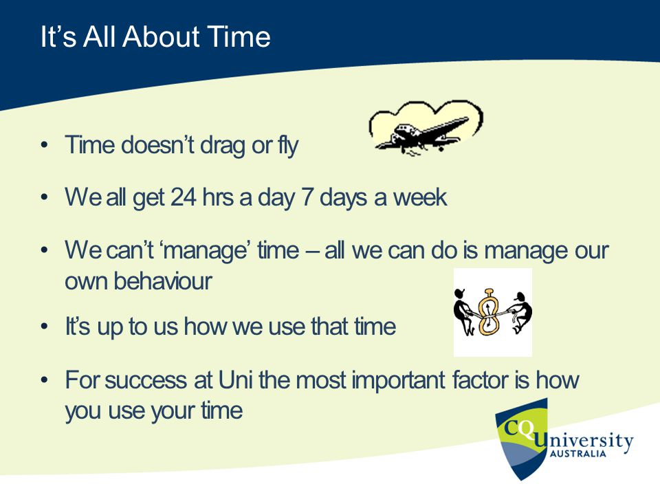 Its All About Time Time doesnt drag or fly We all get 24 hrs a day 7 days a week We cant manage time – all we can do is manage our own behaviour Its up to us how we use that time For success at Uni the most important factor is how you use your time