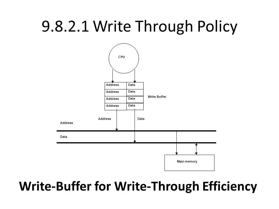 9.8.2.1 Write Through Policy Write-Buffer for Write-Through Efficiency CPU Main memory Address Data Address Data Address Data Address Data Address Data Write Buffer