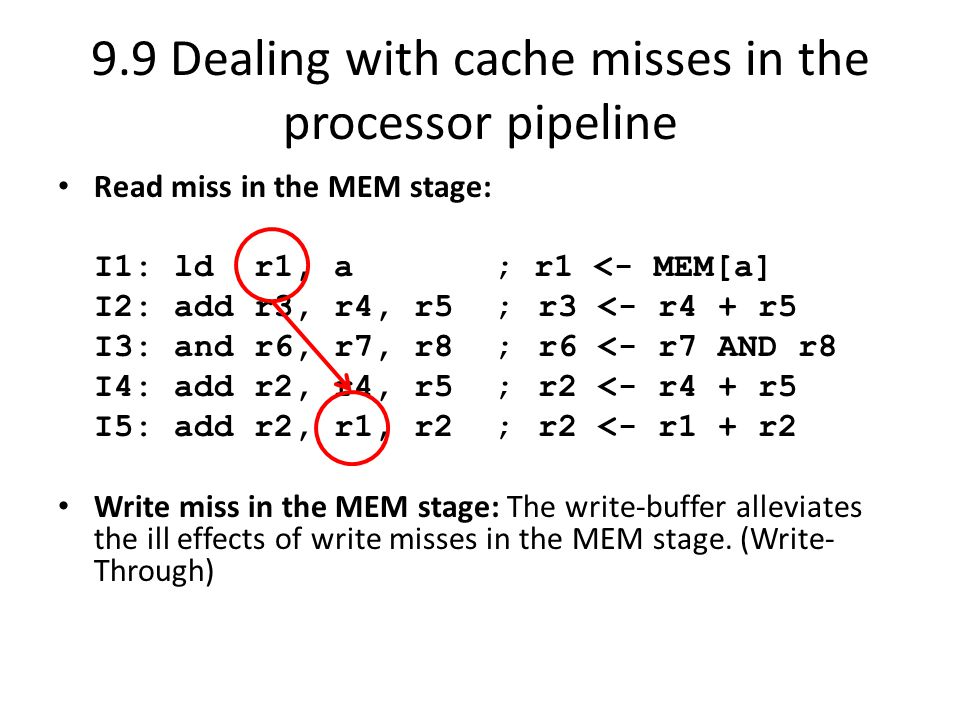 9.9 Dealing with cache misses in the processor pipeline Read miss in the MEM stage: I1: ld r1, a ; r1 <- MEM[a] I2: add r3, r4, r5 ;r3 <- r4 + r5 I3: