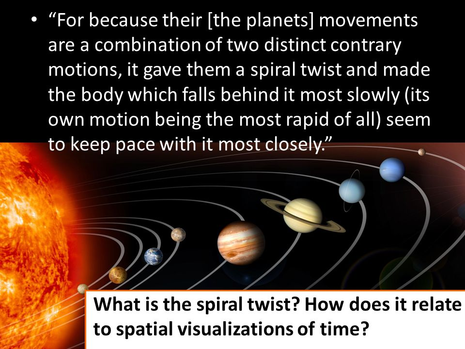For because their [the planets] movements are a combination of two distinct contrary motions, it gave them a spiral twist and made the body which fall