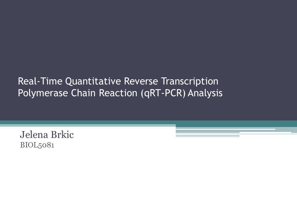 Real-Time Quantitative Reverse Transcription Polymerase Chain Reaction (qRT-PCR) Analysis Jelena Brkic BIOL5081