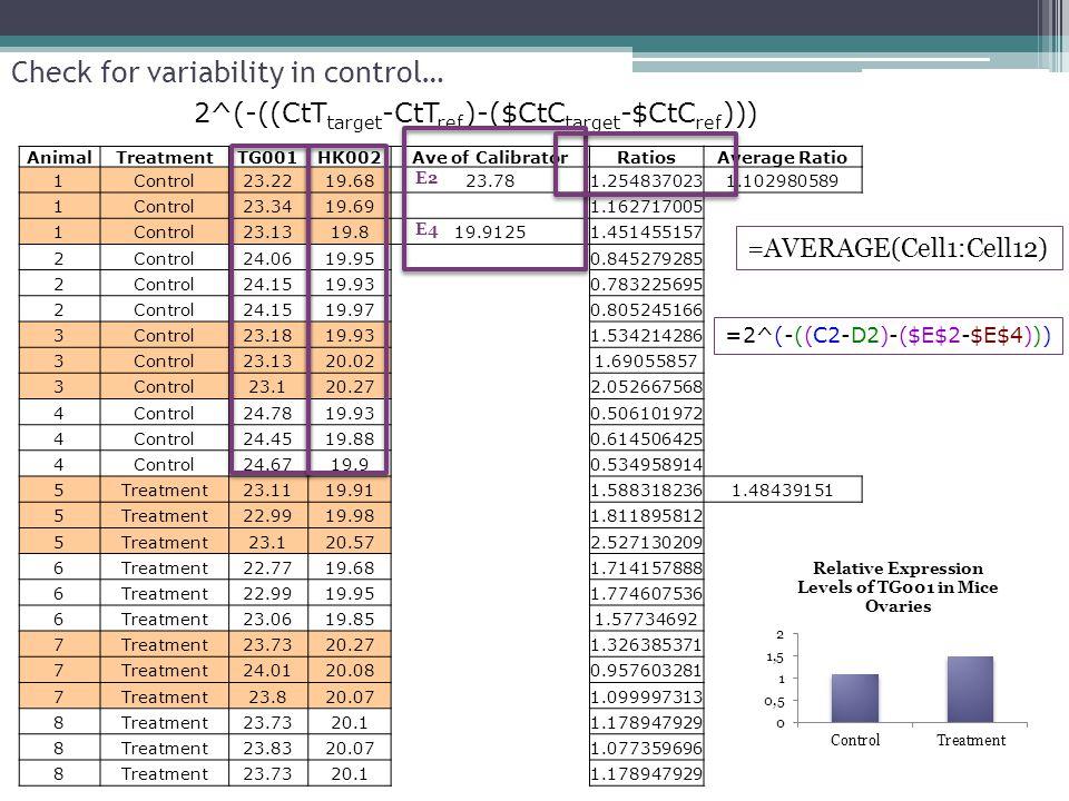 Check for variability in control… AnimalTreatmentTG001HK002Ave of CalibratorRatiosAverage Ratio 1Control23.2219.6823.781.2548370231.102980589 1Control