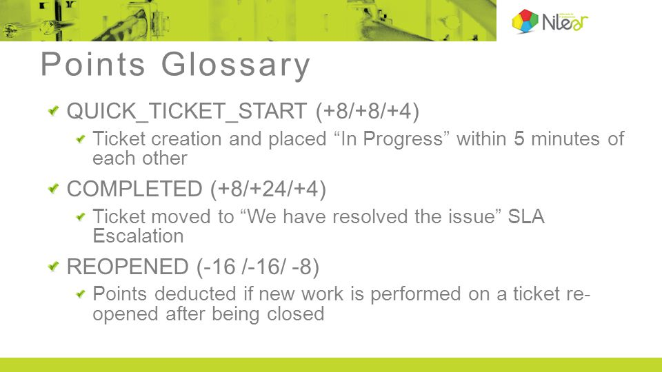 Points Glossary QUICK_TICKET_START (+8/+8/+4) Ticket creation and placed In Progress within 5 minutes of each other COMPLETED (+8/+24/+4) Ticket moved to We have resolved the issue SLA Escalation REOPENED (-16 /-16/ -8) Points deducted if new work is performed on a ticket re- opened after being closed