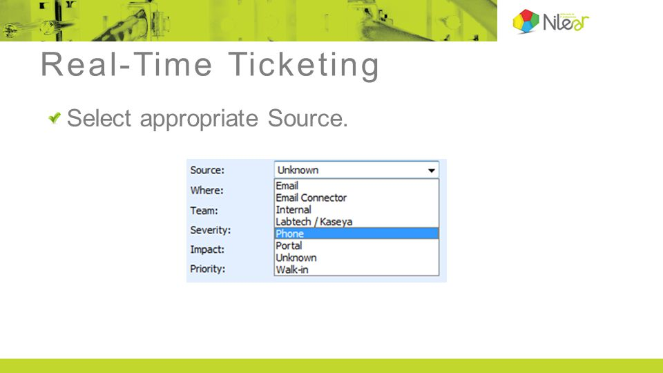 Real-Time Ticketing Select appropriate Source.