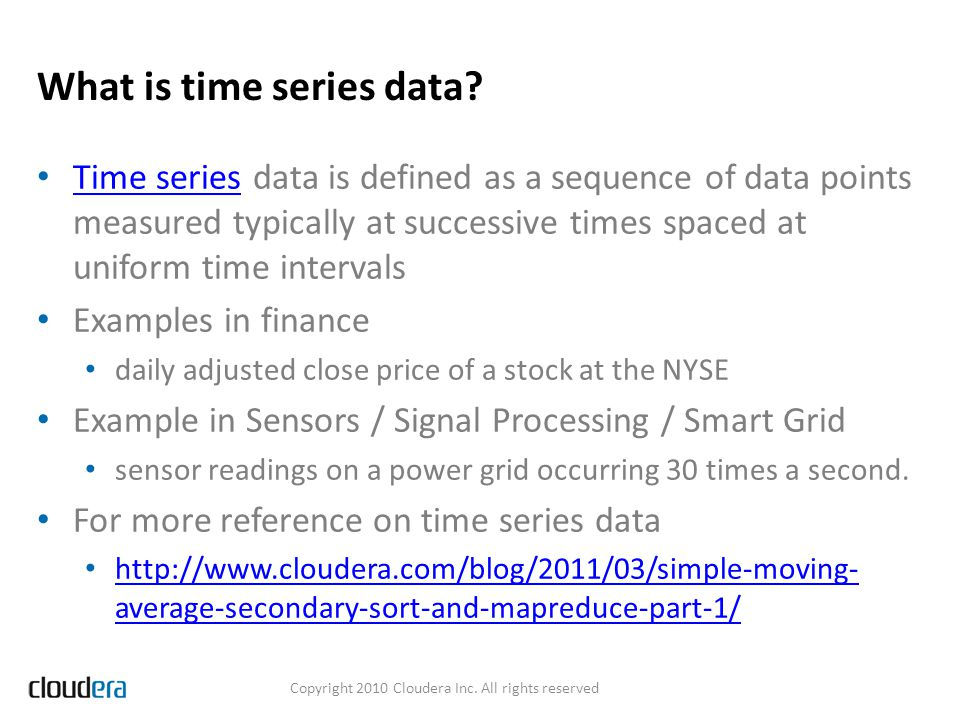 What is time series data? Time series data is defined as a sequence of data points measured typically at successive times spaced at uniform time inter