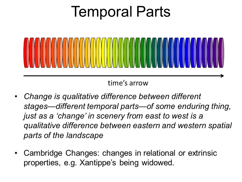 Temporal Parts The Worm View (Lewis): enduring things are space-time worms composed of temporal parts of stages.