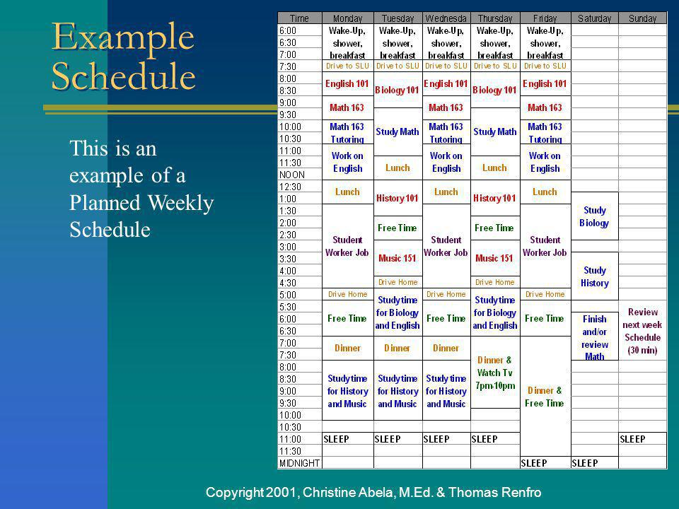 Copyright 2001, Christine Abela, M.Ed. & Thomas Renfro This is an example of a Planned Weekly Schedule Example Schedule