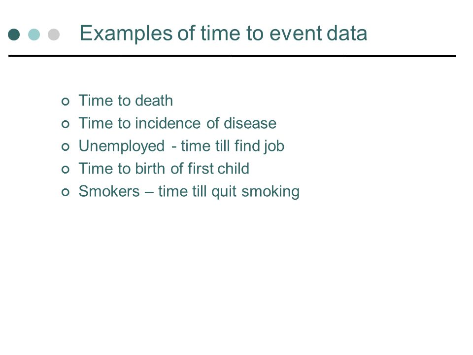 Examples of time to event data Time to death Time to incidence of disease Unemployed - time till find job Time to birth of first child Smokers – time
