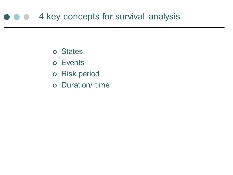 Other extensions to survival analysis Discrete (interval-censored) survival times Repeated events Multi-state models (more than 1 event type)- competing risks Transition from employment to unemployment or leaving labour market Modelling type of exit from cohabiting relationship- separation/divorce/widowhood Frailty (unobserved heterogeneity)