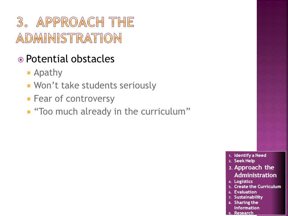 Potential obstacles Apathy Wont take students seriously Fear of controversy Too much already in the curriculum 1.