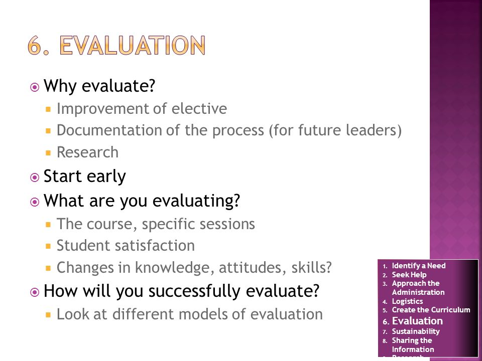 Why evaluate? Improvement of elective Documentation of the process (for future leaders) Research Start early What are you evaluating? The course, spec