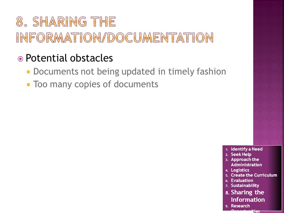 Potential obstacles Documents not being updated in timely fashion Too many copies of documents 1.