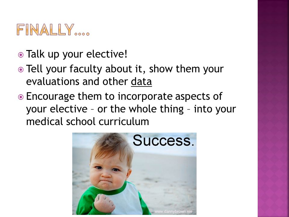 Talk up your elective.