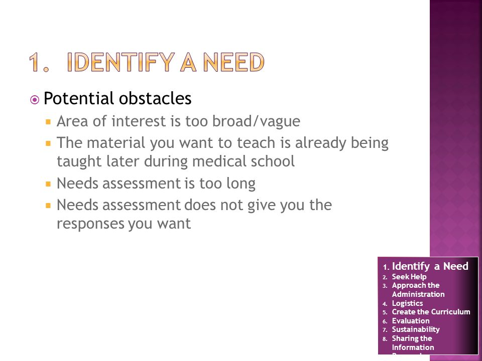 Potential obstacles Area of interest is too broad/vague The material you want to teach is already being taught later during medical school Needs assessment is too long Needs assessment does not give you the responses you want 1.