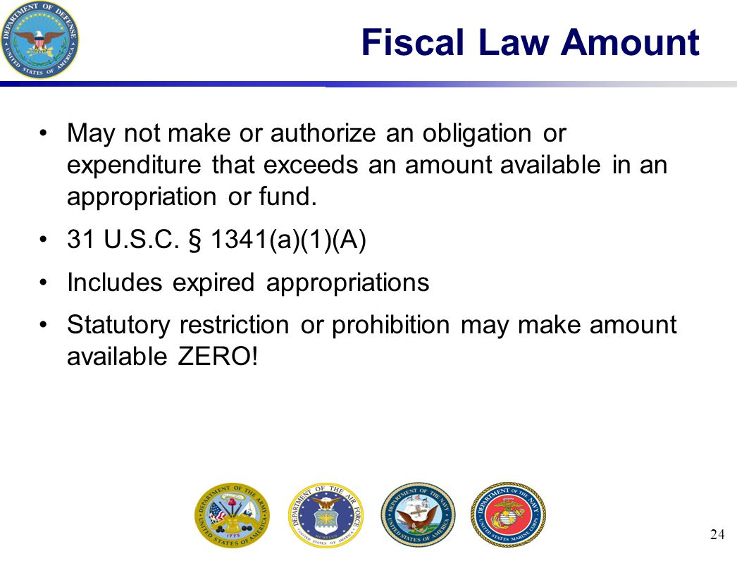 24 Fiscal Law Amount May not make or authorize an obligation or expenditure that exceeds an amount available in an appropriation or fund.