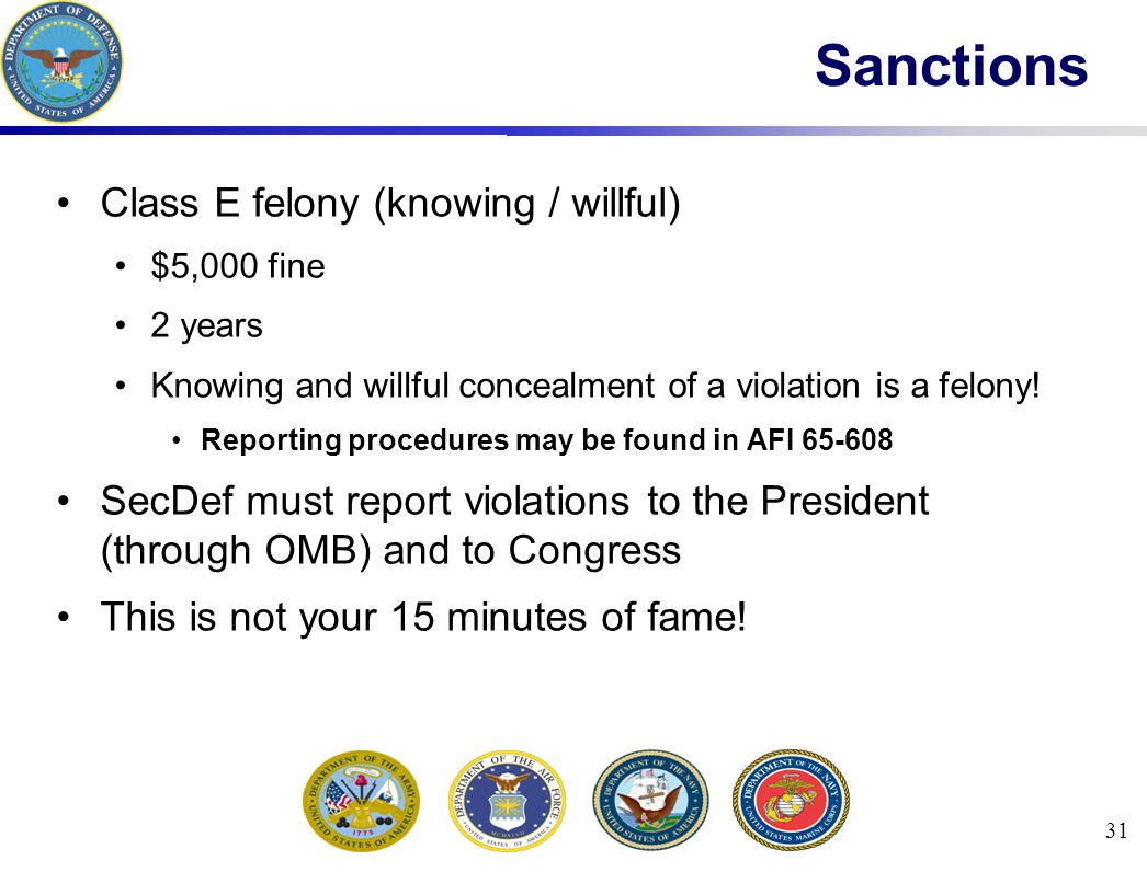 31 Sanctions Class E felony (knowing / willful) $5,000 fine 2 years Knowing and willful concealment of a violation is a felony.