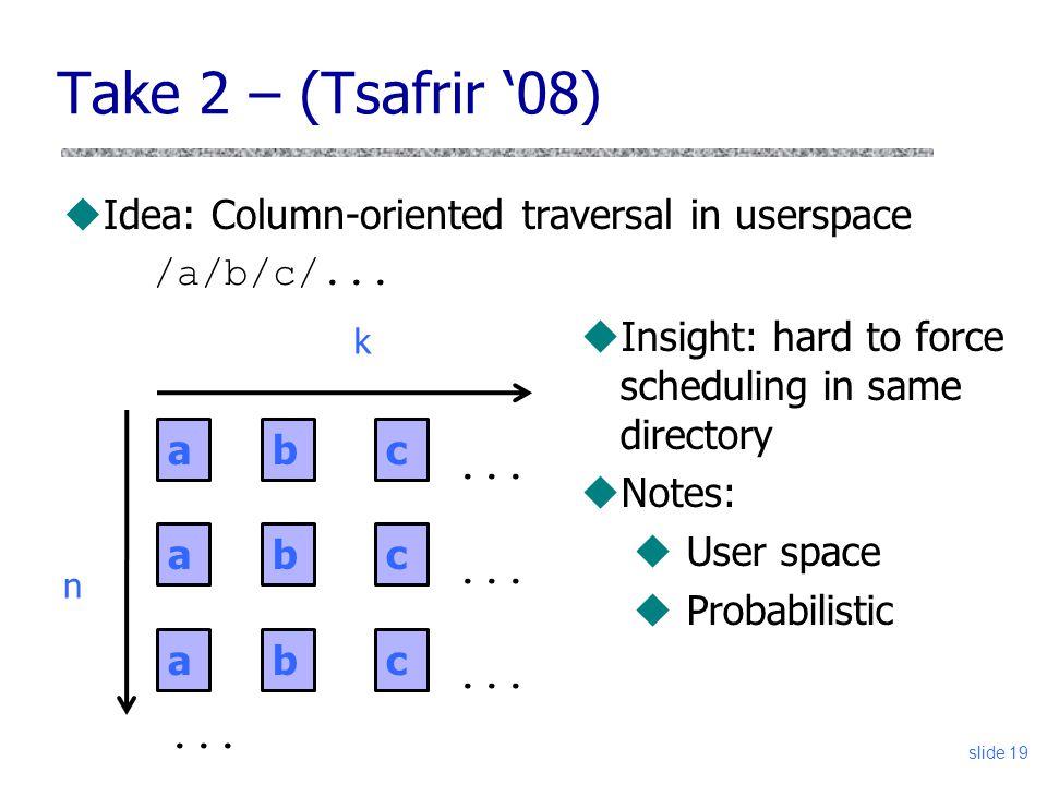 Take 2 – (Tsafrir 08) uIdea: Column-oriented traversal in userspace /a/b/c/... slide 19 a a a... b b b c c c n k uInsight: hard to force scheduling in