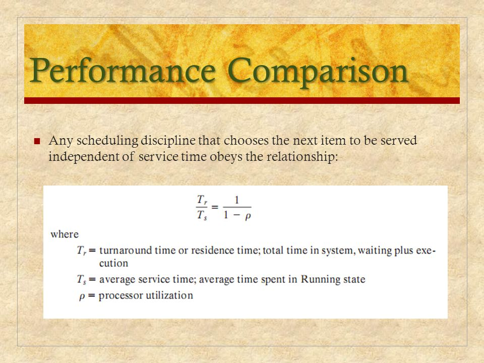 Performance Comparison Any scheduling discipline that chooses the next item to be served independent of service time obeys the relationship: