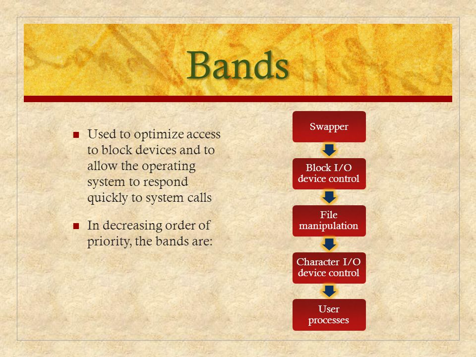 Bands Used to optimize access to block devices and to allow the operating system to respond quickly to system calls In decreasing order of priority, t